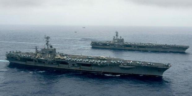 The Nimitz-class aircraft carriers USS John C. Stennis (CVN 74) and USS Ronald Reagan (CVN 76). Picture / US Navy
