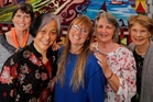 Jill Hartles (left), Naoko Watson, Julia Prentice, Karen Taylor and Jill Ruddell who were among the group who worked on the piece. Photo / John Stone