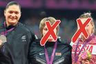 Valerie Adams on the London Olympic podium next to Nadzeya Ostapchuk (centre), exposed as a drug cheat soon after, and Evgeniia Kolodko, who has failed a retrospective test.