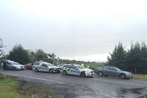 Police units at an incident in the Lower Kaimai area. Photo/Ruth Keber