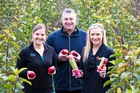 Harvesting careers in pipfruit, from left, Leander Archer, Pipfruit New Zealand capability development manager Erin Simpson and Anna Cudby.