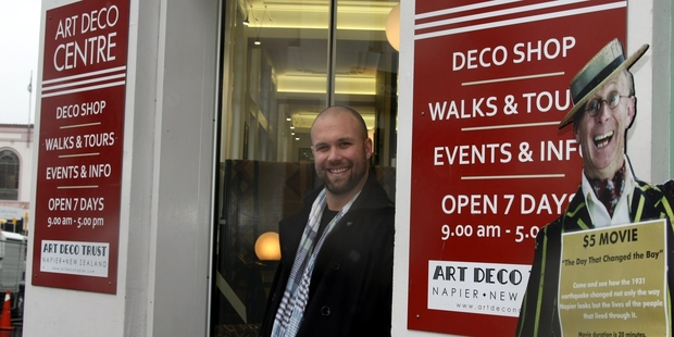 The Art Deco Trust's new festival director, Glen Pickering, pictured in Napier yesterday. Photo / Paul Taylor