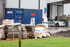 Police at OJI Fibre Solutions in Hamilton, after the discovery of a body yesterday. Photo / Michael Craig