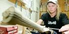Central halfback Toby Richardson looks upon his job as a custom made cricket bat maker at Laver & Wood in Waipawa as a hobby. Photo / Warren Buckland
