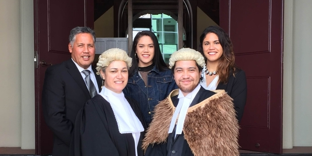 FAMILY SUPPORT: Keepa Hipango (front right) stands with his family after his admission, next to his mother Harete Hipango. Back from the left is father Dean MacFater, sister Roimata Hipango and sister Paparangi Hipango.