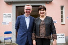 Michael Gove with his wife Sarah Vine after voting in the European Union referendum. Photo / Getty Images
