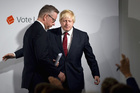Et tu Michael? Boris Johnson ushers Leave campaign co-leader Michael Gove off the stage the morning after the Brexit vote. Photo / Getty Images