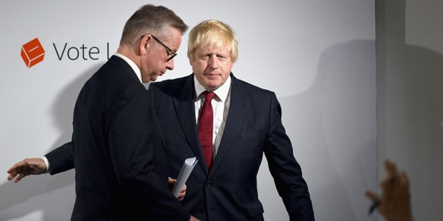 Loading Et tu Michael? Boris Johnson ushers Leave campaign co-leader Michael Gove off the stage the morning after the Brexit vote. Photo / Getty Images