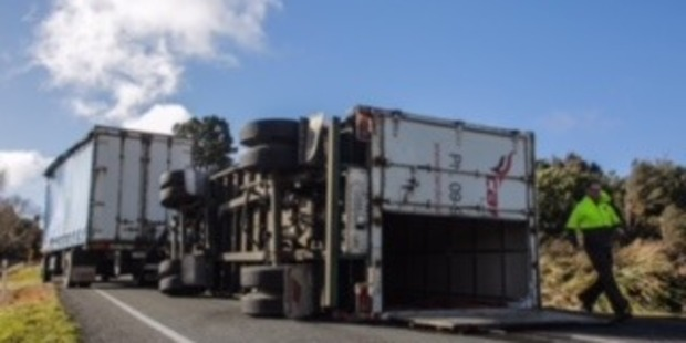 Loading High winds have tipped a truck north of Napier.