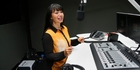 Charmaine Soljak gets acquainted with her brand new radio station studio, from which she will broadcast The Hits in the Northern Advocate/NZME building in Whangarei. Photo / John Stone