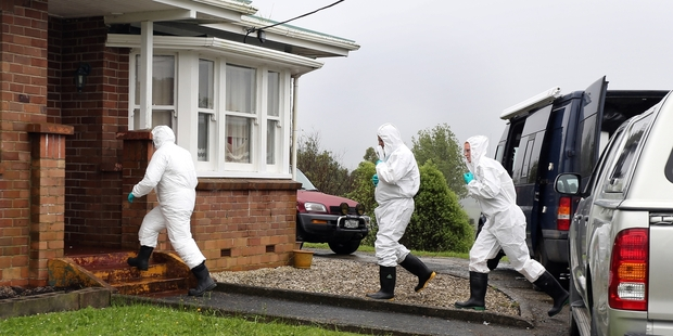Police and ESR staff at the scene of a meth lab raid on Taipuha Rd, southwest of Whangarei, in December 2014.