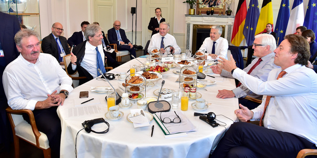 Ministers from Luxembourg, Italy, France, Belgium, Germany and the Netherlands at Brexit talks in Berlin at the weekend. Photo / AP