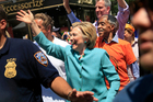 Democratic presidential candidate Hillary Clinton at the New York City Pride Parade. Photo / AP
