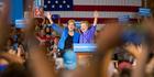 Democratic presidential candidate Hillary Clinton, is introduced by Senator Elizabeth Warren, left, at a rally in Cincinnati, Ohio. Photo / AP