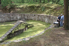 This Israel Antiquities Authority photo shows preparation for Electric Resistivity Tomography scan of the pit used to hold the victims before their execution near Vilnius, Lithuania. Photo / AP