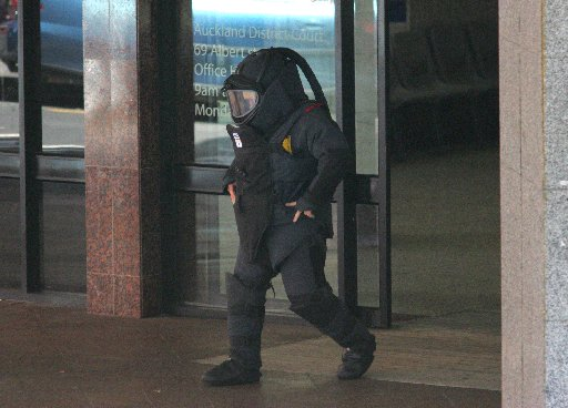 A member of the New Zealand Defence Force bomb disposal team.