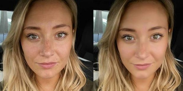 The blogger was furious to find her face airbrushed when taking a selfie on her new phone. Photo / Instagram, iammelwells