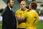 Wallabies coach Michael Cheika, captain Stephen Moore and Michael Hooper of the Wallabies. Photo / Getty Images.
