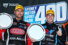 Fabian Coulthard and Scott McLaughlin on the podium in Sydney. Photo / Getty Images