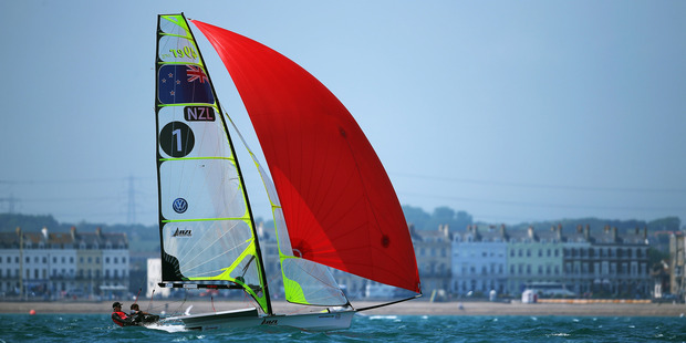 Peter Burling and Blair Tuke in action during the ISAF Sailing World Cup. Photo / Getty Images