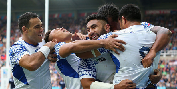 Ma'atulimanu Leiataua of Samoa celebrates with his team mates after scoring during the 2015 Rugby World Cup. Photo / Getty