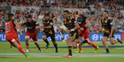 Seta Tamanivalu of the Chiefs runs through to score a try during the round one Super Rugby match between the Crusaders and the Chiefs at AMI Stadium. Photo / Gettyimages