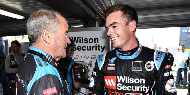 Garry Rogers shakes hands with Scott McLaughlin. Photo / Getty Images