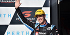 Scott McLaughlin celebrates after finishing second at Barbagallo Raceway. Photo / Getty Images
