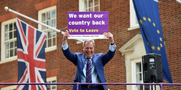 Even during the referendum campaign, the idea of Farage standing triumphant come June 24 appeared far-fetched. Photo / Getty Images