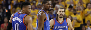 Russell Westbrook, Kevin Durant and Steven Adams playing for the Thunder. Photo / Getty Images