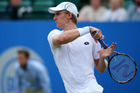 Kevin Anderson plays a forehand at the ATP Aegon Open Nottingham. Photo / Getty Images