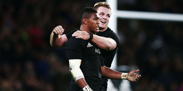 Waisake Naholo and Sam Cane celebrate a try against Wales. Photo / Getty