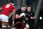 Kieran Read on the charge during the match against Wales at Forsyth Barr Stadium. Photo / Getty Images