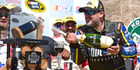 Tony Stewart celebrates with champagne in victory lane after winning at Sonoma. Photo / Getty Images