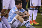 Argentina's Lionel Messi reacts after losing to Chile in penalty kicks during the Copa America final. Photo / Getty