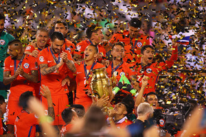 Chile celebrates after defeating Argentina to win the Copa America Centenario Championship match at MetLife Stadium. Photo / Getty Images.