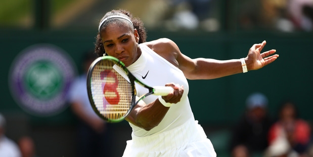 Serena Williams plays a forehand in her first round match against Amra Sadikovic. Photo / Getty Images