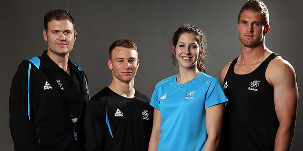 New Zealand athletes Stuart Farquhar, Dylan Schmidt, Eliza McCartney and Scott Curry pose in the casual and training uniform for Rio. Photo / Getty