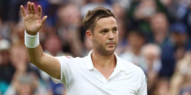 Marcus Willis of Great Britain reacts during the Men's Singles second round match against Roger Federer on day three of Wimbledon. Photo / Getty