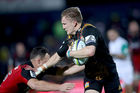 Damian McKenzie of the Chiefs fends off Israel Dagg of the Crusaders. Photo / Getty