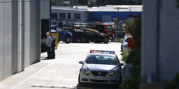 Police at the scene of a fatal workplace accident in Silverdale. Photo /Doug Sherring