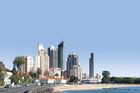 An artist's mock-up of a Gold Coast-style Mission Bay. Photo / Composite Image