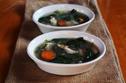 Chicken white bean and silver beet soup. Photo / Doug Sherring