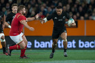 New Zealand All Blacks centre George Moala in action against Wales during the third and final test match between the All Blacks and Wales. Photo / Brett Phibbs.