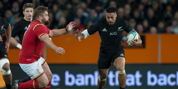 Loading New Zealand All Blacks centre George Moala in action against Wales during the third and final test match between the All Blacks and Wales. Photo / Brett Phibbs.