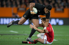New Zealand All Blacks winger Julian Savea in action against Wales during the third and final test match between the All Blacks and Wales. Photo / Brett Phibbs.