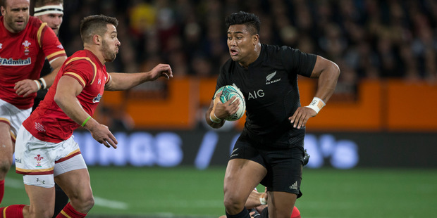 Loading New Zealand All Blacks winger Julian Savea in action against Wales during the third and final test match between the All Blacks and Wales. Photo / Brett Phibbs.
