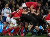 All Blacks scrum pops the Welsh, in action against Wales during the third and final test match between the All Blacks and Wales. Photo / Brett Phibbs