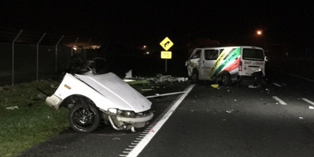 The scene of a fatal accident near Hamilton Aiport on State Highway 3. Photo / Supplied