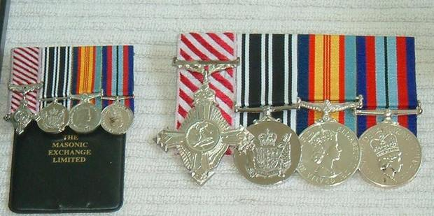 Image posted to the Auckland RSA website showing war medals owned by one of their executive members Gordon Ragg that were stolen while he was overseas. Photo / Facebook